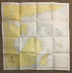 1974 Vintage Salem & Marblehead MA Nautical Chart Map NOAA Ocean Survey 33X33