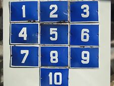 Lot 10 Enameled Porcelain Tin Sign House-Door Number 1 to 10 - 5.9 in - 4.3 in