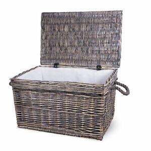 Vintage Wicker Trunk Baby Nursery Toys Blanket Storage Chest Basket Box Bedside