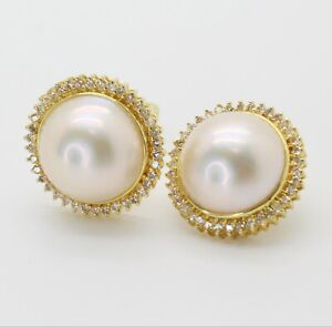 14K YELLOW GOLD MABE PEARL CLIP ON EARRINGS WITH DIAMONDS