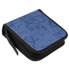40 Dics CD/VCD/DVD Case Storage Organizer Wallet Holder Album Box World Map Blue