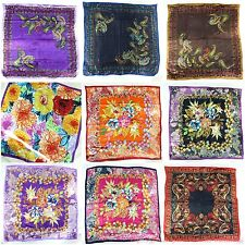 "12pcs wholesale lot 39"" large satin square scarves in vintage boho designs"