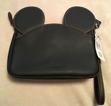 NWT DISNEY COACH MICKEY MOUSE EARS WRISTLET BLACK LEATHER SOLD OUT LE