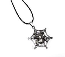 Halskette Spinne mit Netzt - Kette verstellbar - Silber farbend - INKgrafiX®