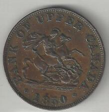 BANK OF UPPER CANADA, 1850, HALF PENNY TOKEN, COPPER, KM#Tn2, CHOICE EXTRA FINE
