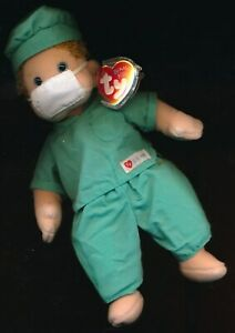 RARE BEANIE BABY 1994 DOCTOR BOOMER WITH SCRUBS AND MASK + FREE U.S.A. SHIPPING!