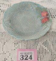 "Vintage Melba Ware Turquoise Blue Textured Dish Strawberry Design 5.25"" D"
