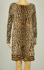 Michael Kors Brown Women's Size Medium M Sheath Animal Print Dress #287