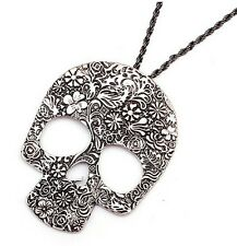 HALLOWEEN DAY OF THE DEAD FLOWER SKULL PENDANT NECKLACE VOODOO QUEEN NEW ORLEANS