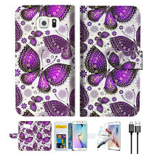 Purple Butterfly Phone Wallet Case Cover For Samsung Galaxy S7 -- A017