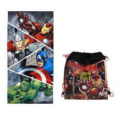 "Marvel Avengers Iron Man Thor Hulk Bath Beach Towel 28""X58"" + Sling Backpack Bag"
