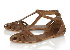 Ravel Sandals Size 6 Womens Tan Leather Arizona T Bar Flat Delivery