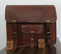 New 1 Side Brown Leather Motorcycle Side Pouch Saddlebags Saddle Panniers Bag