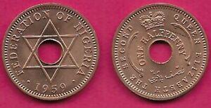 NIGERIA BRITISH PROTECTORATE 1/2 PENNY 1959 UNC RULER ELIZABETH II,CROWN ABOVE C