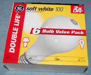 Lot of 6 GE Double Life 100 Watt A19 Incandescent Light Bulbs (#49345), New
