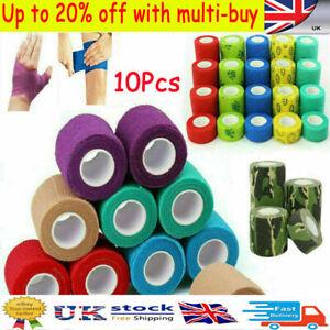 10 Rolls Cohesive Elastic Bandage Adhesive Wrist Ankle Gauze Tape Vet Wrap 4.5m