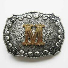 Western- Buckle, Buchstabe M, mit echt Goldauflage, Gürtelschnalle