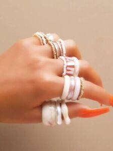 Neu 17 Teiliges Ringset Ring Perlen Naturtöne creme beige rose taube Mix Gr  H36