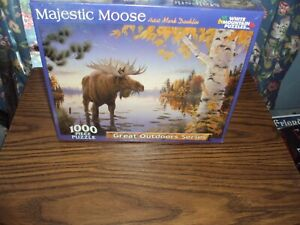 "MAJESTIC MOOSE  White Mountain Puzzles 1000 Piece 24 "" X 30 ""ARTIST MARK DAEHLIN"