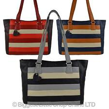 96a0e93fc8bf Ladies LEATHER Large Shoulder BAG by Mala  BURCHELL Collection Handbag  STRIPES