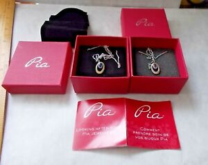 PAIR PIA SILVER PENDANT NECKLACES ON CHAINS STAMPED ITALY 925.1 AMETHYST.1 BLUE