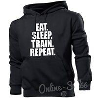 Eat Sleep Train Repeat Mens Womens Hoodie Gym Sweater Hoody Gift Weights New