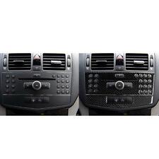 For Benz C Class W204 C Carbon Fiber Center Console CD Panel Cover 2pc 2007-2010