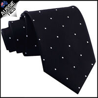MENS BLACK PIN DOT 8.5CM TIE polka dot dots