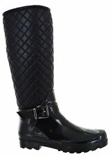 LADIES WINTER WARM WELLIES ZIP UP BUCKLE STYLE QUILTED PATENT WOMANS BOOTS SIZE