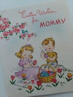1943 Vtg Norcross EASTER WISHES FOR MOMMY Kids Paint Eggs GREETING CARD