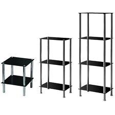 2 3 4 Tier Glass Shelf Unit Black Shelves Storage Square Modern By Home Discount