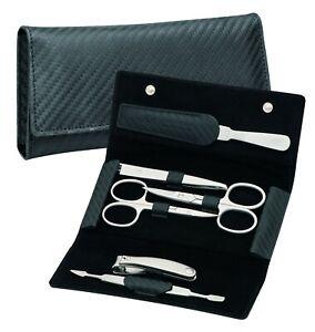 Manicure Case Real Leather IN Carbon Look Men's Becker-Manicure Erbe Solingen
