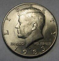 1983-D John F Kennedy Clad Half Dollar Choice AU to BU Condition Tougher Date