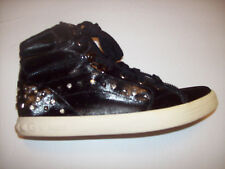 GUESS black shiny canvas studded HiTop fashion sneaker shoes US Sz 8M  EUC