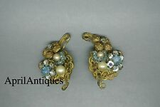 Vintage Miriam Haskell faux baroque pearl beaded blue flower filigree earrings
