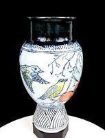 "JAMES DE GUZMAN SIGNED STUDIO ART POTTERY SGRAFITTO BIRDS FRUIT 10.75"" VASE 2012"