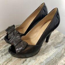 NINE WEST Brown Peep Toe High Heels SZ 9 Bow Shoes Pumps Career -A