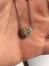 14k White Gold Fancy Yellow Heart Diamond And Diamond By Yard 16 inch Chain