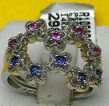 14k(585) White Gold Floral Rings Set > With Pink and Blue Sapphire Flowers.