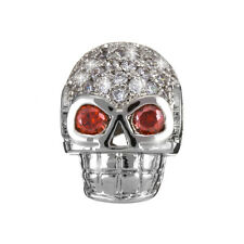 Brass Hollow Skull Bead Micro Pave Cubic Zirconia Silver (H89/6)