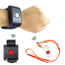 Wireless Calling Paging System Watch Receiver+Call/SOS Button for Patient & Kids