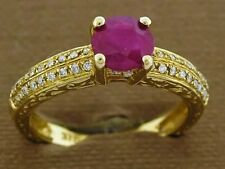 R083 Genuine 9K SOLID Gold NATURAL Ruby & Diamond Engagement Ring size N sizable