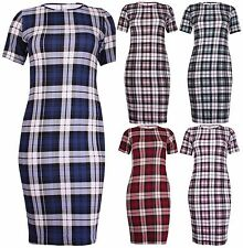 Checked Short Sleeve Casual Tunic Dresses for Women