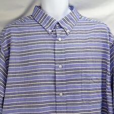 Men's Dress Shirt 18 1/2 Tall 37/38 Blue Black White Stripe Kings Court