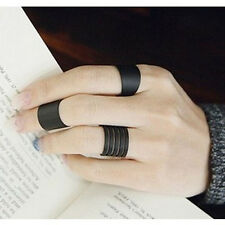 Womens Fashion Punk Rock Black Metal 3Pieces Simple Knuckle Rings Set