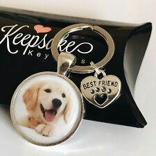 Personalised Photo Keyring Best Friend Paw Heart Cat Dog Pet Present Gift Box