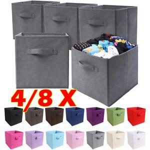 4/8pcs Foldable Square Canvas Storage Collapsible Folding Box Fabric Cubes Toys