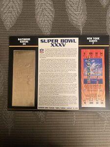 22KT GOLD SUPER BOWL 35 XXXV RAVENS VS GIANTS OFFICIALLY AUTHORIZED NFL TICKET
