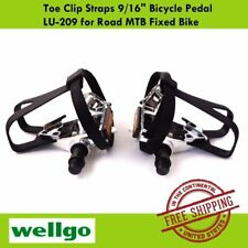 """Wellgo LU-209 Toe Clip Straps 9/16"""" Bicycle Pedal for MTB Road Fixed Bike"""