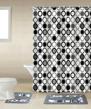 SHOWER CURTAIN MATCHING COVERED FABRIC HOOKS BATHROOM SET 13PC MITOSIS